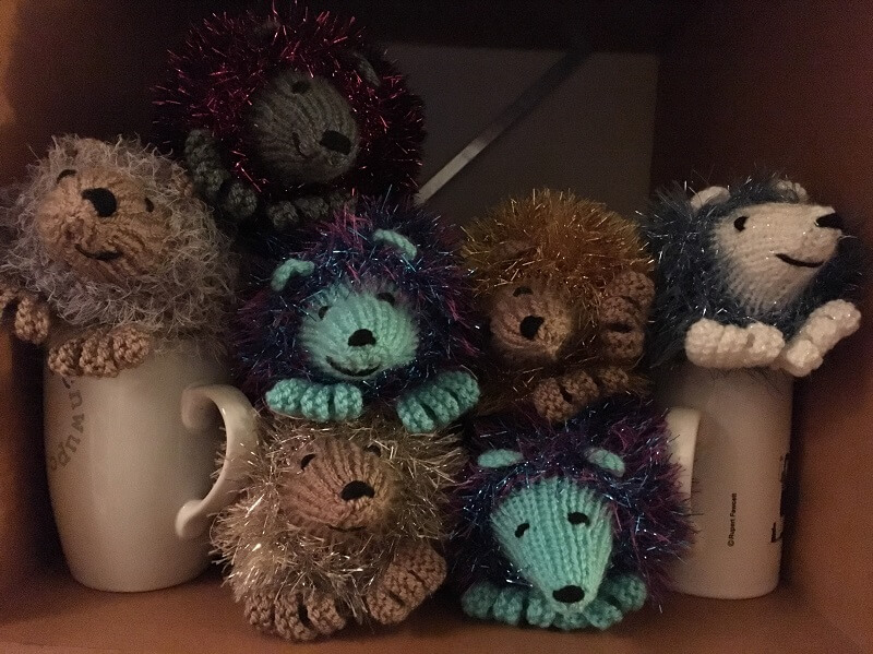 knitted hedgehogs are sold by the charity at fairs in winter and summer to generate income for the charity