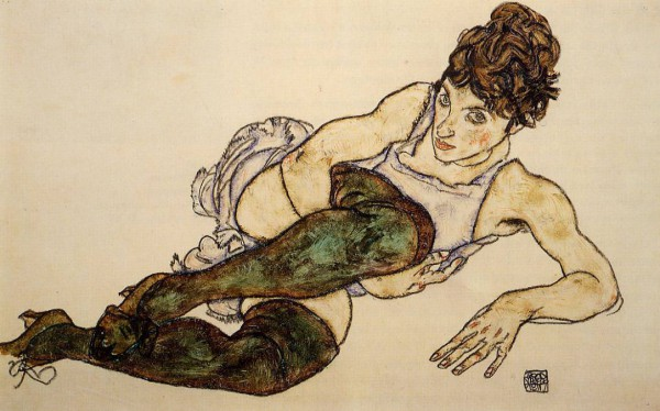 reclining woman in green stockings by egon schiele, austrian impressionist painter