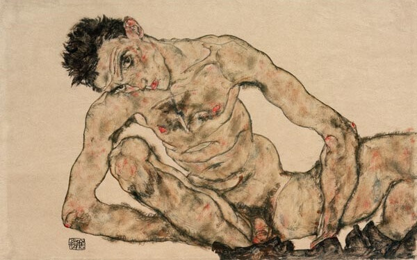 nude self portrait by egon schiele, austrian impressionist painter
