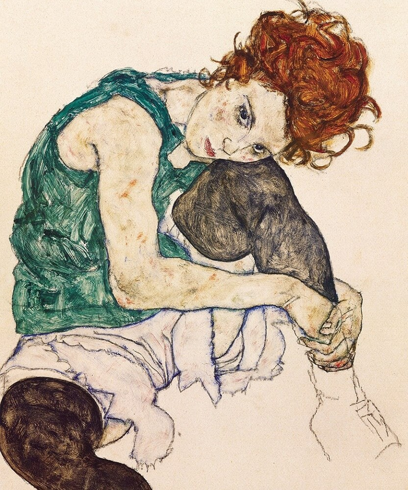 the artist's wife by egon schiele, austrian impressionist painter