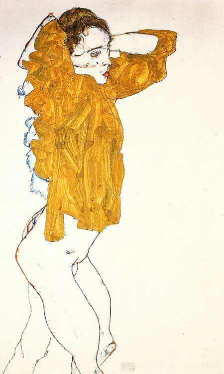 girl undressing by egon schiele, austrian impressionist painter