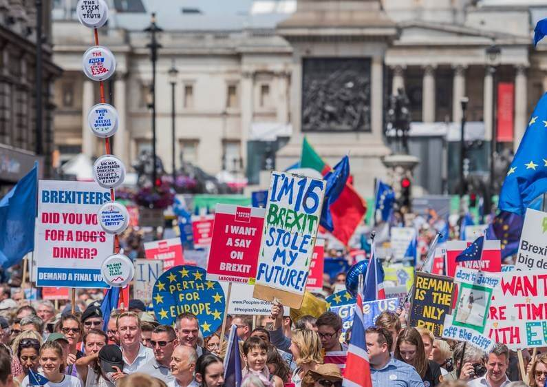 large numbers came out onto the streets to demand an end to Brexit and a say on any deal